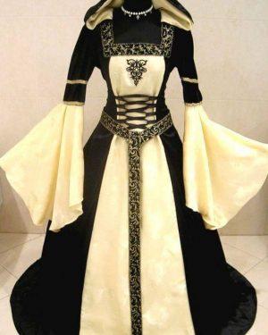 Vestido Medieval com Capuz e manga Longa